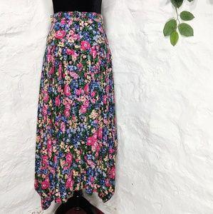 Vintage floral high waisted boho hippie skirt